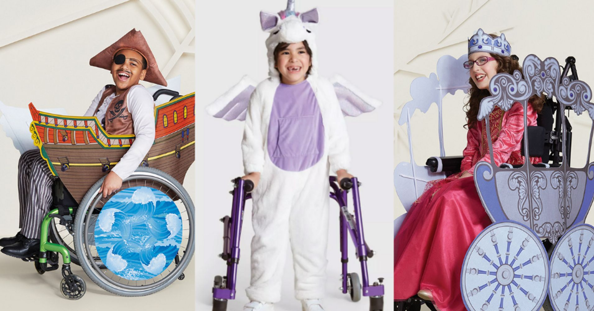 ילדה בכיסא גלגלים בתחפושת נסיכה, ילד עם הליכון לובש תחפושת חד-קרן  וילד בכיסא גלגלים מחופש לפיראט